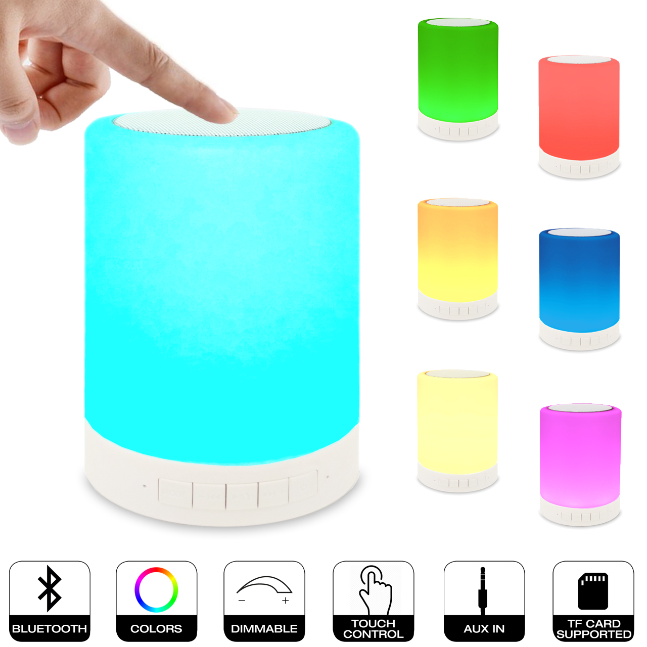 Zhoppy 2 In 1 Portable Bluetooth Speaker And Color Night